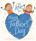 Happy Children Celebrating Father's Day Behind a Big Heart, Vector Illustration Royalty Free Stock Photos
