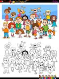 Happy children characters group coloring book. Cartoon Illustration of Little Children Characters Group Coloring Book Activity Stock Photography