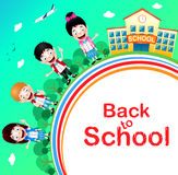 Happy Children Characters with School Building and Airplane Stock Images