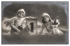 Happy children Christmas tree gifts Vintage picture stock photo