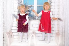 Happy children at christmas royalty free stock images