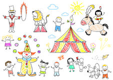 Happy children in circus Stock Photo