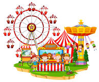 Happy children at circus. Illustration Stock Image
