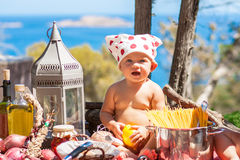 Happy children cook. Funny kids playing outdoors. Summer vacation concept Royalty Free Stock Photos