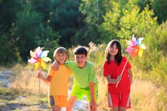 Happy children in countryside Stock Images