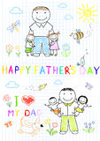 Happy children with dad Royalty Free Stock Images