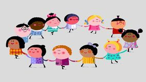 Happy children dancing – loop with alpha channel. Children of different nations are dancing together in a circle holding their hands stock footage
