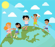 Happy Children Dancing on Planet Earth Flat Vector. Dancing and playing on planet Earth surface kids. Happy little girls and boys enjoying bright sun flat vector Stock Images