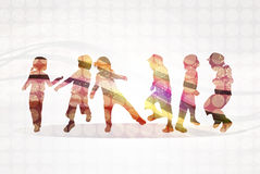 Happy children dancing together. Color Stock Image