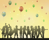 Happy children dancing together. Color Stock Photos