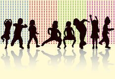 Happy children dancing together. Color Royalty Free Stock Photos