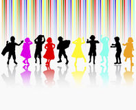 Happy children dancing together Stock Photos