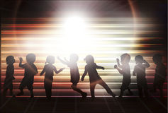 Happy children dancing together Stock Photo