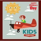 Happy children day background. Vector illustration of Universal Children day poster. Greeting card. Flat. Round frame. - Vector. Happy children day background stock illustration