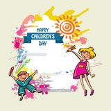 Happy children day background. Vector illustration of Universal Children day poster. Greeting card. Flat. Round frame. - Vector vector illustration
