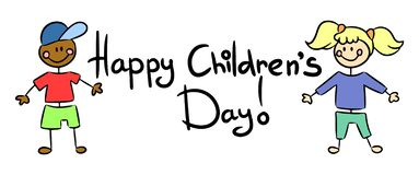 Happy Children Day postcard. Vector isolated illlustration royalty free illustration