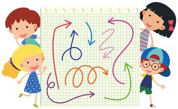 Happy children and different colors of arrows Stock Photography