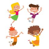 Happy children in different positions big vector jumping cheerful child group and funny cartoon kids joyful team. Laughing little people joy lifestyle Stock Images