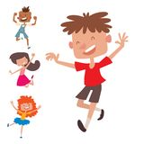 Happy children in different positions big vector jumping cheerful child group and funny cartoon kids joyful team. Laughing little people joy lifestyle Stock Image