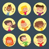 Happy children in different positions big vector jumping cheerful child group and funny cartoon kids joyful team. Laughing little people joy lifestyle Stock Photography