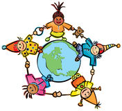 Happy children of different races around the Eart Stock Photography