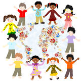 Happy children of different races around the world blooming card Royalty Free Stock Photos