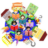 Happy children of different races reading books Royalty Free Stock Photo