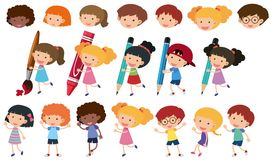 Happy children with different writing tools Stock Images