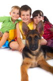 Happy children with dog Royalty Free Stock Photography