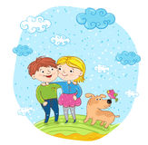 Happy children with dog at park Stock Images