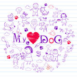 Happy children and dogs Royalty Free Stock Photos