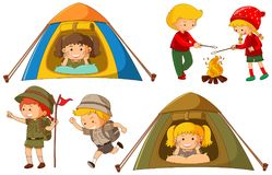 Happy children doing different activities for camping. Illustration Royalty Free Stock Photo
