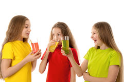 Happy children drinking juice Royalty Free Stock Photography