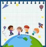 Happy children on earth paper frame Royalty Free Stock Image