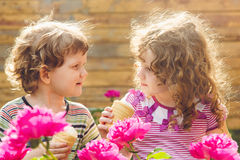 Happy children eating ice-cream in summer park. Instagram filter Stock Image