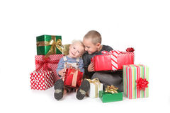 Happy Children Enjoying Christmas Gifts Royalty Free Stock Images