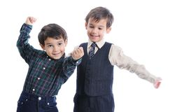 Happy children with fashionable clothes Stock Photo