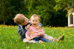 Happy children in field Royalty Free Stock Images