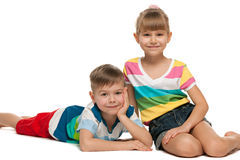 Happy children on the floor Royalty Free Stock Images