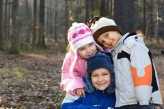 Happy Children in a Forest stock photo