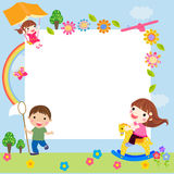 Happy children and frame Royalty Free Stock Photo