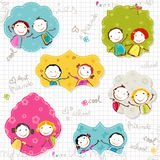 Happy children frames. On scribbled paper Royalty Free Stock Photo