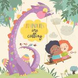 Happy children with funny monster. Adventures are calling vector illustration