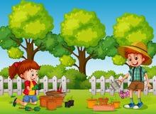 Happy Children Gardening in the Park. Illustration vector illustration