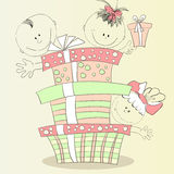 Happy children with gift Royalty Free Stock Photo