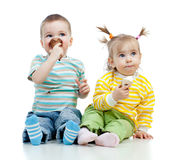 Happy children girl and boy with ice cream Royalty Free Stock Photo