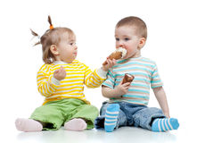 Happy children girl and boy with ice cream Stock Image