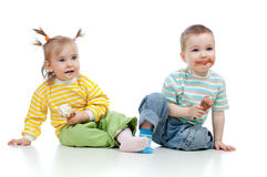 Happy children girl and boy with ice cream Royalty Free Stock Image