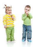 Happy children girl and boy with ice cream Stock Photos