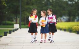 Happy children girlfriend schoolgirl student elementary school Stock Photos